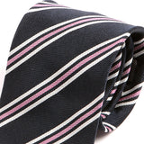 Navy And Pink Striped Silk Necktie, One of One