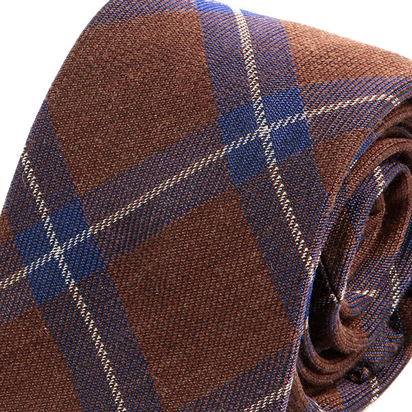 Brown & Blue Wool + Silk Necktie Blend