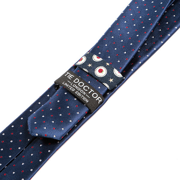 Navy Blue Polka Dot Skinny Tie