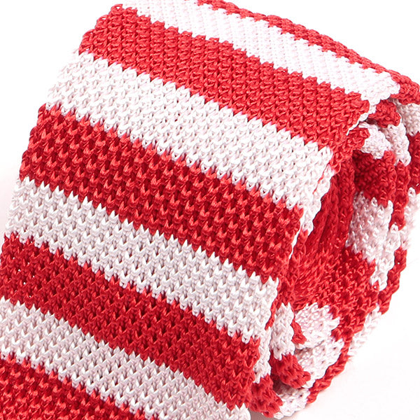 Red Striped Silk Knitted Tie, One of One