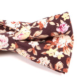 Brown Cotton Floral Bow Tie