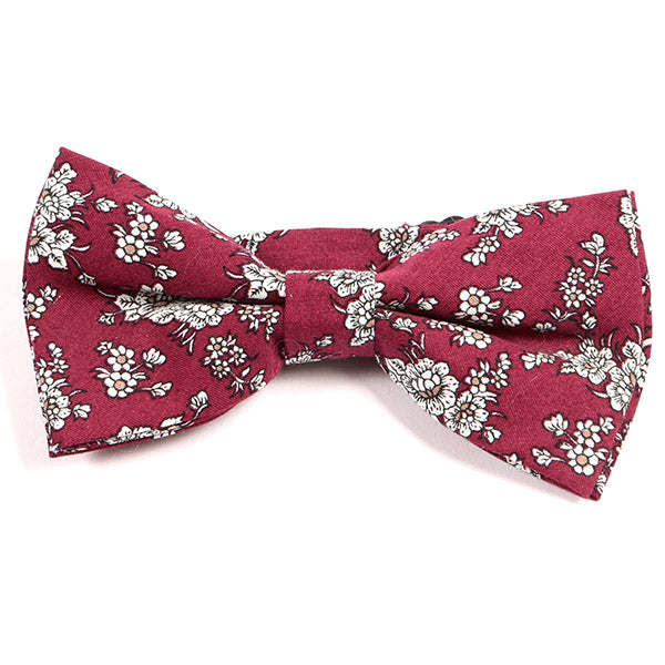 Red Cotton Floral Bow Tie