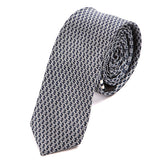 Navy Blue And White Skinny Tie 5cm