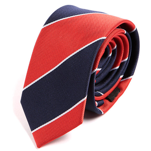 Red And Blue Striped Skinny Tie 6cm