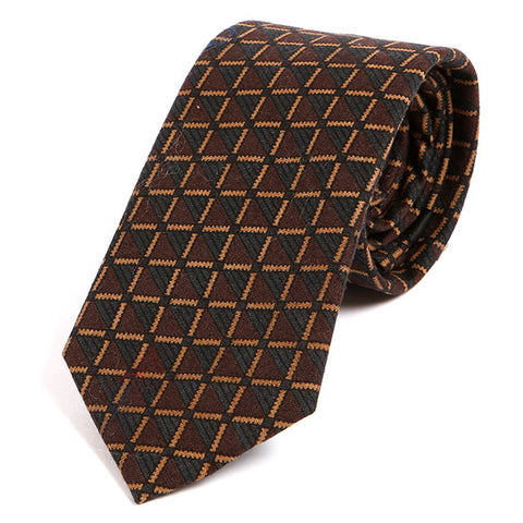 Brown Vintage Geo Wool Tie - Handmade Silk Wool And Knitted Ties by Tie Doctor