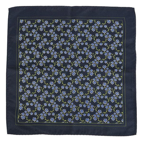 Navy Floral Optic Square - Handmade Silk Wool And Knitted Ties by Tie Doctor