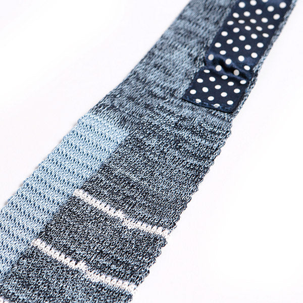Blue Mesh Striped Silk Knitted Tie, One of One