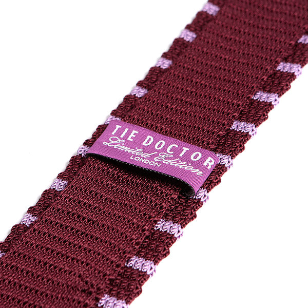 Red Silk Tie Knitted With Purple Striped, One of One