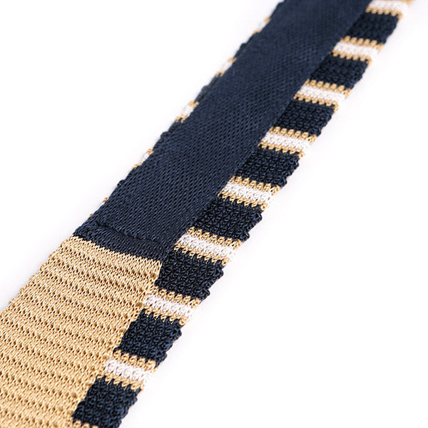 Blue & Gold Silk Tie Knitted Double Stripe, One of One