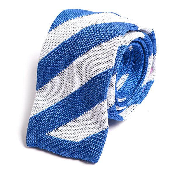 Blue & White Striped Silk Knitted Tie, One of One