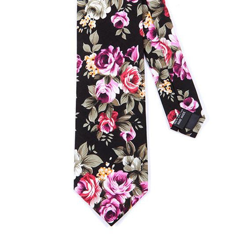 BLACK RED & PINK COTTON FLORAL TIE