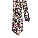 BLACK FLORAL COTTON TIE - Handmade Limited Edition Ties by Tie Doctor