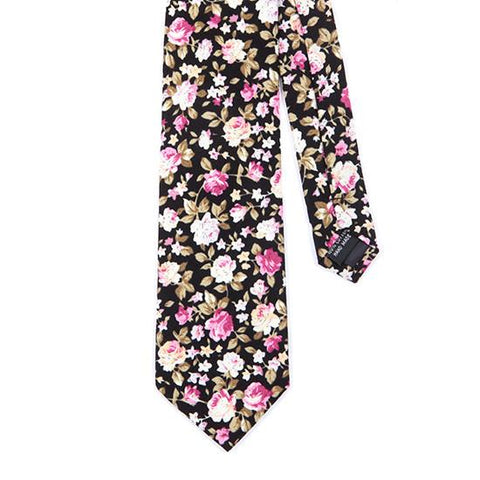 BLACK FLORAL COTTON TIE - Handmade Silk Wool And Knitted Ties by Tie Doctor