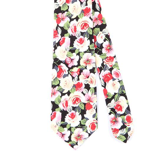 BLACK WHITE & RED FLORAL COTTON TIE - TIE DOCTOR online