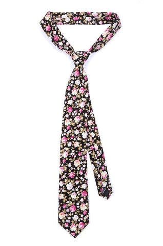 BLACK FLORAL COTTON TIE - TIE DOCTOR online