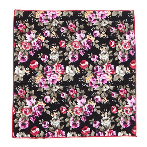 BLACK RED & PINK COTTON FLORAL TIE - TIE DOCTOR online