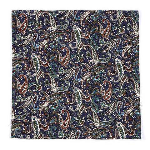 NAVY PAISLEY POCKET SQUARE - Handmade Silk Wool And Knitted Ties by Tie Doctor