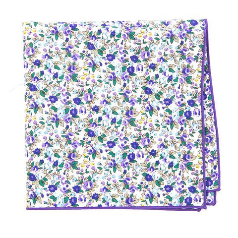 PURPLE & GREEN FLORAL POCKET SQUARE - Handmade Limited Edition Ties by Tie Doctor