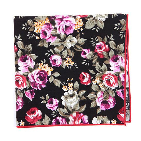 BLACK RED & PINK COTTON FLORAL TIE - Handmade Limited Edition Ties by Tie Doctor