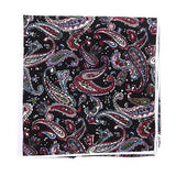 BLACK PAISLEY POCKET SQUARE - Handmade Silk Wool And Knitted Ties by Tie Doctor