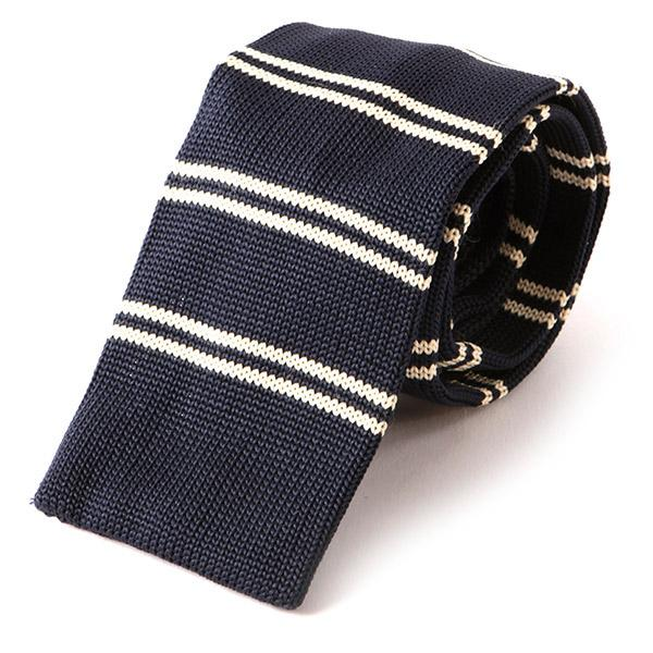 Navy Striped Knitted Tie