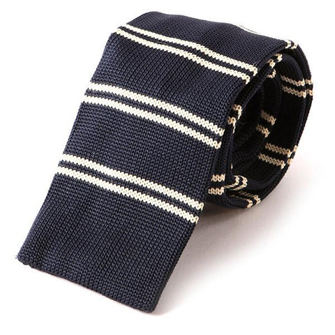 Navy Striped Knitted Tie - Handmade Limited Edition Ties by Tie Doctor