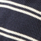 Navy Striped Knitted Tie close up
