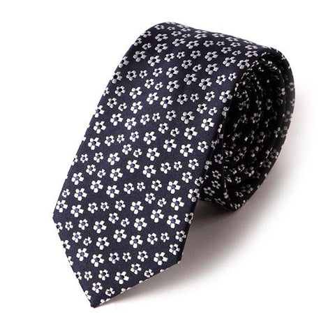 Navy Mini Floral Slim Tie