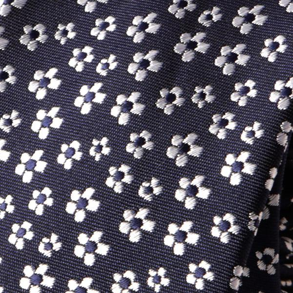 Navy Mini Floral Slim Tie - Handmade Silk Wool And Knitted Ties by Tie Doctor