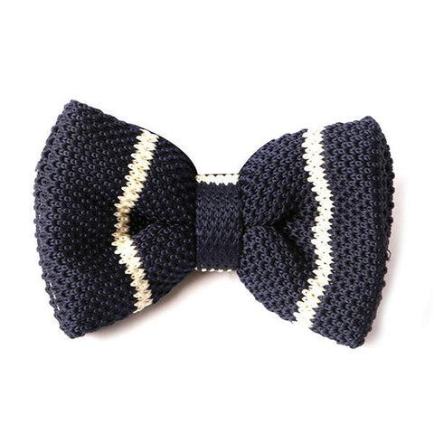 Navy & White Stripe Knitted Bow Tie - Handmade Silk Wool And Knitted Ties by Tie Doctor