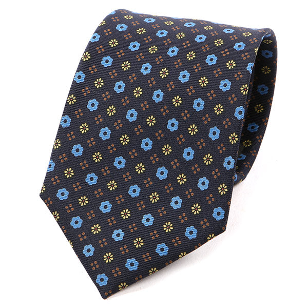 Navy Blue Floral Macclesfield Silk Tie