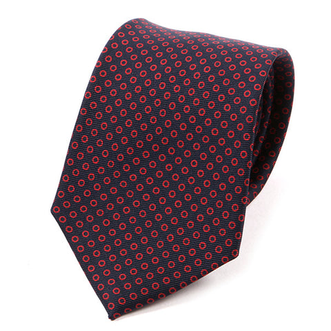 Red Circle Patterned Macclesfield Silk Tie