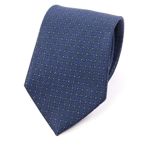 Navy Blue Links Extra Long Macclesfield Silk Tie