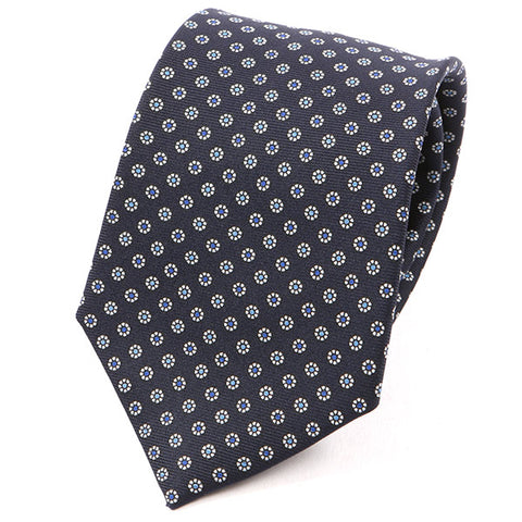 Navy Floral Macclesfield Silk Tie
