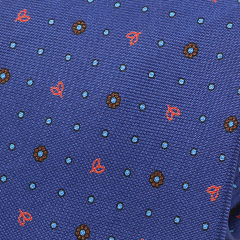 Unique Blue Floral Extra Long Macclesfield Silk Tie