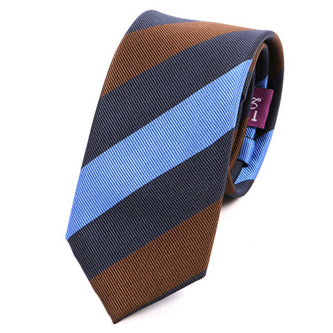 Light Blue And Brown Slim Silk Tie