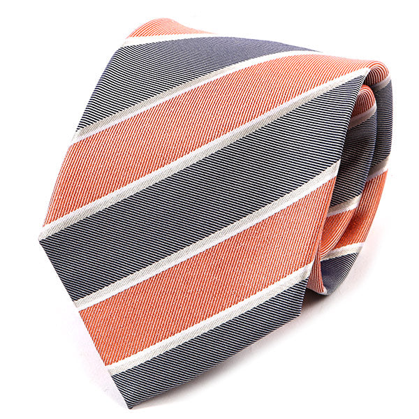 Coral Pink And Grey Striped Silk Tie