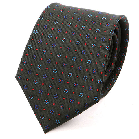 Unique Green Macclesfield Floral Silk Tie