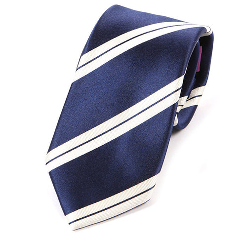 Navy Blue And White Silk Tie