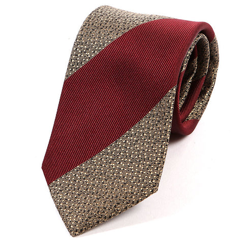 Red And Gold Bold Striped Silk Tie