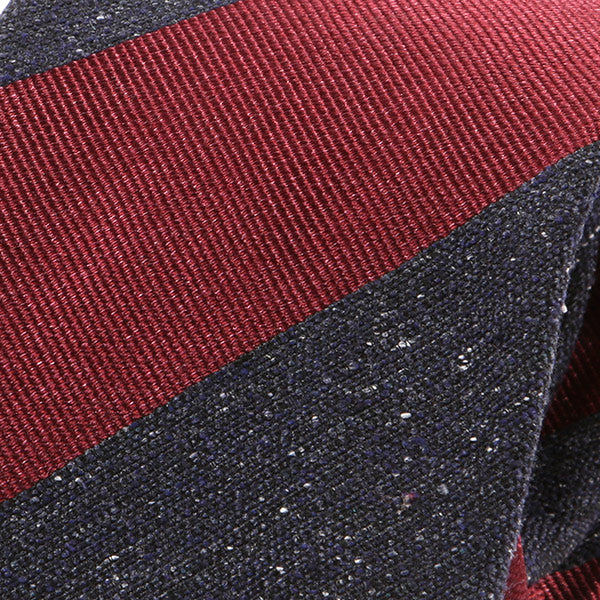 Red & Grey Striped Silk Tie