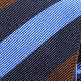 Light Blue Navy And Brown Striped Silk Tie