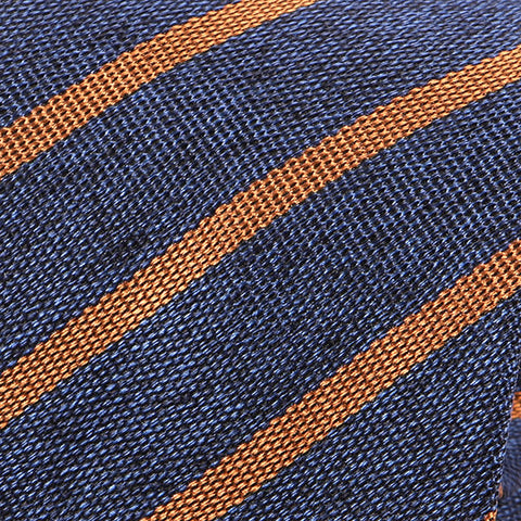 Denim Navy And Golden Brown Striped Silk Tie