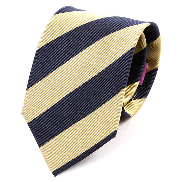Mustard Yellow And Navy Striped Silk Tie