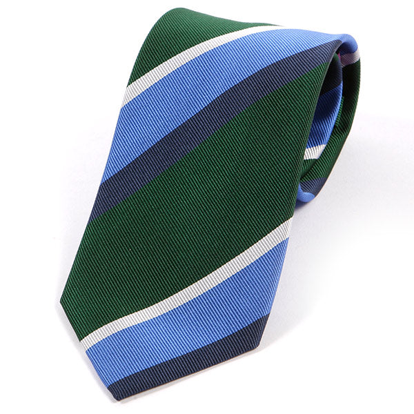Green And Light Blue Striped Silk Tie