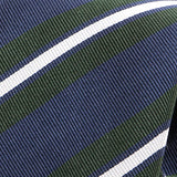 Green And Navy Multicoloured Striped Silk Tie