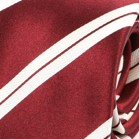 Burgundy Red And White Silk Tie