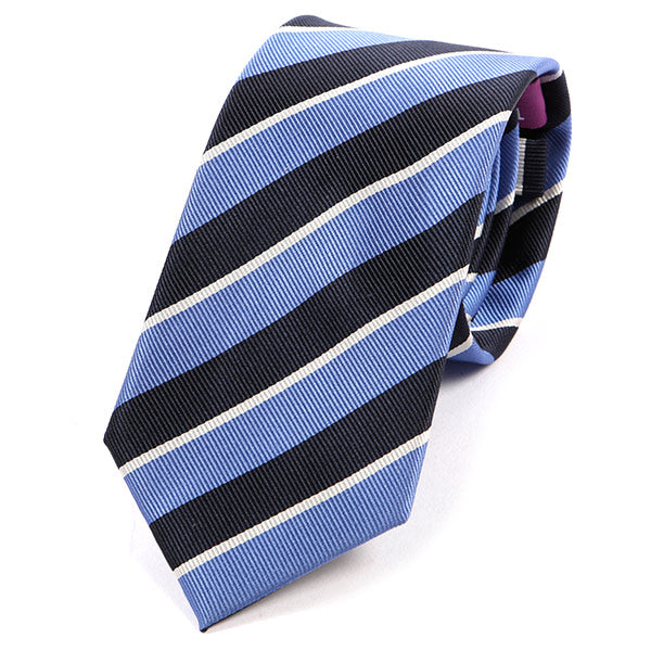 Light Blue Navy Striped Silk Tie