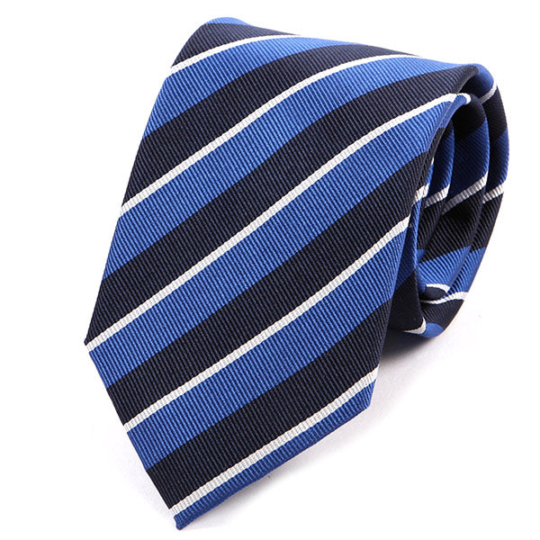 Blue And Navy Regimental Striped Silk Tie