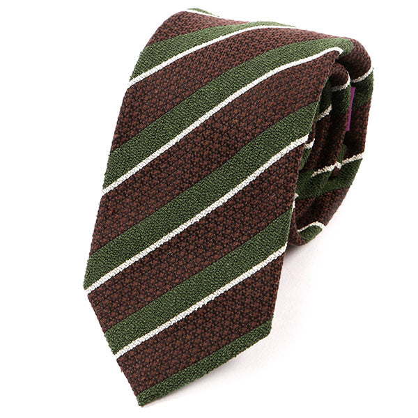 Brown And Green Stripe Wool Tie